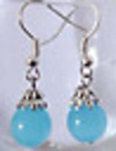 Tibet Silver blue jade Earrings---NEW!!
