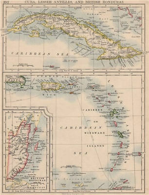 CARIBBEAN ISLANDS.Cuba British Honduras Caribbee/Windward. JOHNSTON 1895 map