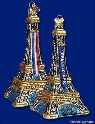 (EIFFEL TOWER OLD WORLD CHRISTMAS PARIS FRANCE PARISIAN GLASS ORNAMENT NWT 20056)