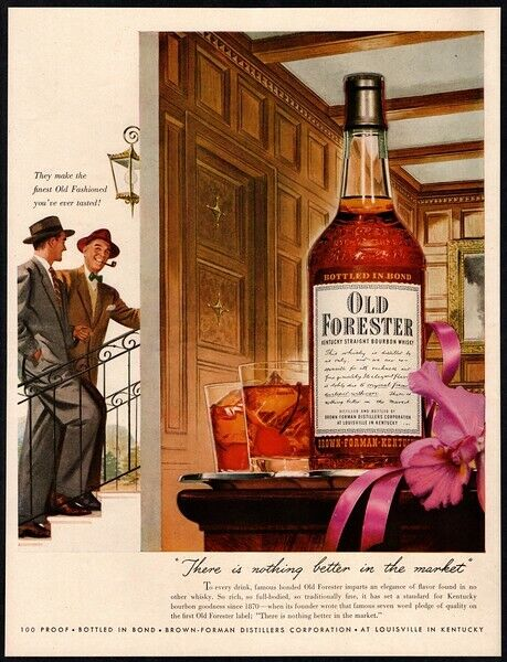 1950 OLD FORESTER Whiskey - Tobacco Pipe - Suited Men - Cherry  VINTAGE AD