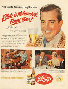 1951 full-page color ad for Blatz Beer with actor John Payne