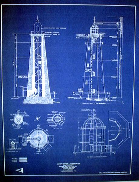 "Vintage Lighthouse at Sandy Hook New Jersey USA Blueprint Plans 17"" x 23"" (248)"