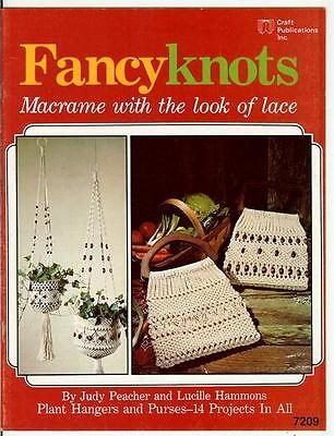 FANCY KNOTS ~The LOOK of LACE~Vintage MACRAME Pattern Book~HANGERS & HANDBAGS on Rummage