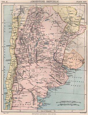 Argentine Republic. Argentina. BRITANNICA 1898 old antique map plan chart