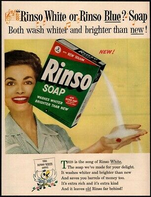 1954 RINSO Soap - Housewife - Kitchen - Household - Song - Jingle VINTAGE AD