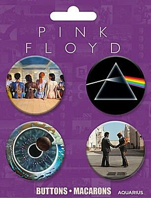 Pink Floyd pack of 4 round pin badges on card    (nm)