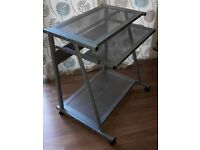 Metal Computer PC Trolley - Silver. Good condition, some marks. Argos 617/8273