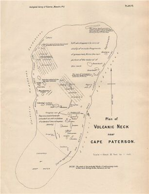 Plan of Volcanic Neck near Cape Paterson. Victoria, Australia. Mining 1909 map