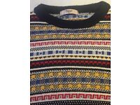 Barons of England Men's Knitwear Jumper - Blue/Multicolour - Size M
