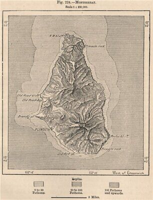 Montserrat. West Indies. The Lesser Antilles 1885 old antique map plan chart