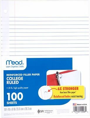 Mead Reinforced College Ruled Filler Paper 100 Sheets - Paper