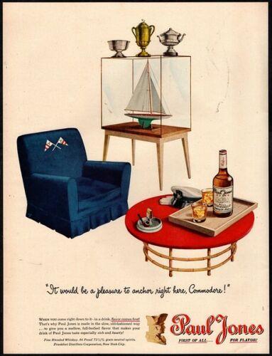 1946 PAUL JONES Whiskey - Sailboat - Captain - Outdoors - Alcohol VINTAGE AD