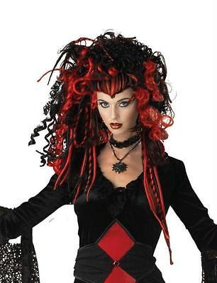 Mr Nightmare Halloween (RED BLACK NIGHTMARE WIDOW CURLY GOTH VAMPIRESS WIG COSTUME ACCESSORY)