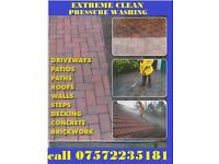 EXTREME CLEAN PRESSURE WASHING DRIVEWAY PATIO DECKING FURNITURE ROOFS PATHWAYS GRAFFITI REMOVAL