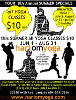 $10+gst ALL YOGA CLASS this summer JUNE 1 to AUGUST 31