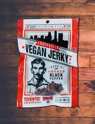 Louisville Vegan Jerky - Smoked Black Pepper - meatless, vegetarian, FREE SHIP
