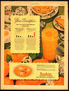 1946 large full-page color ad for Sunkist California Oranges