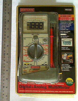 Analog Digital 29 Ranges Multimeter Craftsman 82322 New 982322