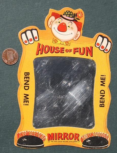 1960 Dairy Queen Dilly Bar House of Fun diecut clown mirror premium-VERY CUTE!