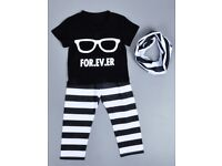 Baby boy or girl holiday summer 3 piece outfit pants t-shirt and scarf size 80, 12 months