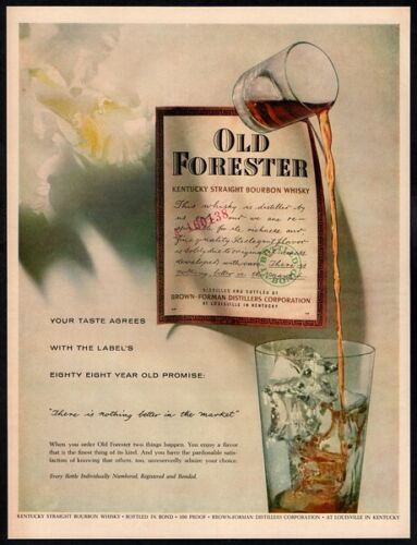 1957 OLD FORESTER Whiskey - Glass - Classy - Ice - Retro Original VINTAGE AD