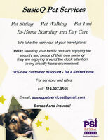 BOOK NOW!!!   SUSIEQ PET SERVICES - BONDED & INSURED