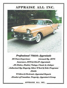 MTO & INSURANCE ANTIQUE CLASSIC CAR  APPRAISALS