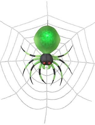 Halloween 6' Projection Airblown Green Spider on the Web Halloween - Green Halloween Spider Web