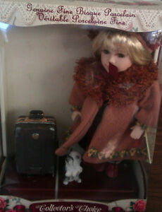 Hand Painted Porcelain Doll with baggage and puppy Prince George British Columbia image 1