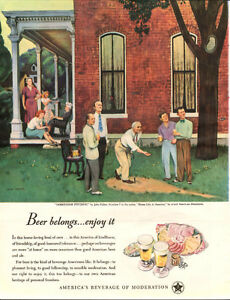 Large 1947 original full-page, Beer Belongs print ad