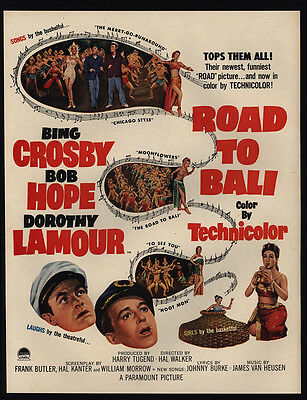 1952 ROAD TO BALI Theater Movie Release - BING CROSBY - BOB HOPE - VINTAGE AD
