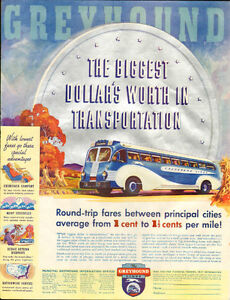 1936 large color magazine ad for Greyhound Bus Lines