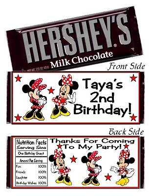 12 Minnie Mouse Red & Black Birthday Party Candy Hershey Bar Wrappers Favors - Minnie Mouse Red Party Supplies