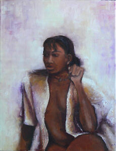 Girl in Shirt, original oil on canvas 24x18