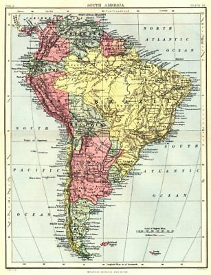 SOUTH AMERICA. Britannica 9th edition 1898 old antique vintage map plan chart