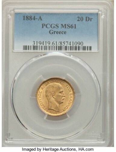 1884-A Greece 20 Drachmai Gold Coin PCGS MS61 George I ~ Spectacular