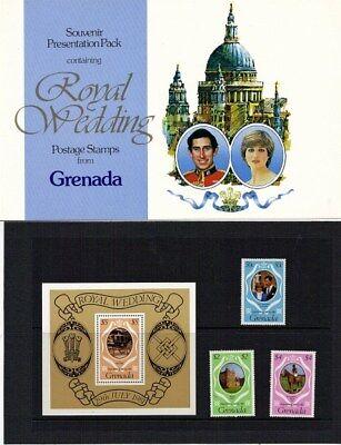 GRENADA 1981 ROYAL WEDDING PRESENTATION PACK FOLDER WITH MNH SET