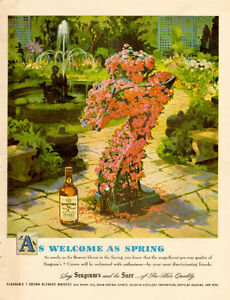 Large (10 ½ by 13 ½ ) 1948 full-page color ad for Seagram's 7
