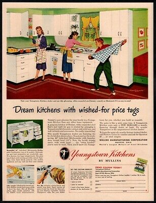 1949 YOUNGSTOWN KITCHENS- Kids Messing Around - Kitchen - Housewife VINTAGE AD