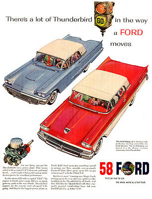 "1958 Ford T-Bird Ad Replica 14 x 11"" Photo Print"