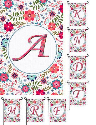 Monogram Flower Garden Banner Flag Yard Floral Family Initial Decor 11x14-12x18 (Yard Flag)