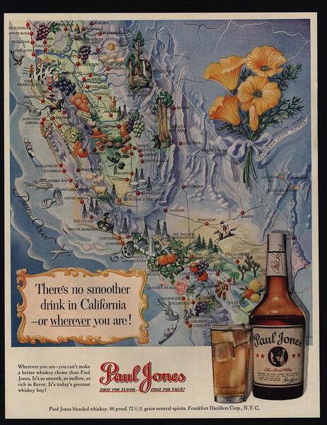 1950 CALIFORNIA Map Art - PAUL JONES Whiskey - VINTAGE AD