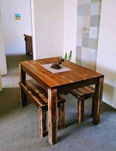 Small Hardwood Dining Table & Two Matching Benches Distressed Coogee Eastern Suburbs Preview