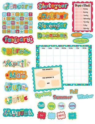 CTP 1642 DOTS ON TURQUOISE CALENDAR BULLETIN BOARD SET NEW CLASSROOM DECORATIVE