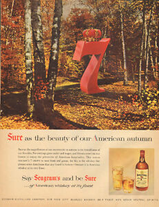 Large1955 full-page color ad for Seagram's 7- autumn scene