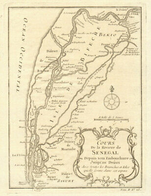 'Cours de la Riviere du Senegal' river to the desert. BELLIN 1746 old map