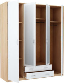 Bradford 4 Door 2 Drawer Mirrored Wardrobe - Smoky Oak