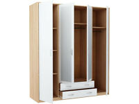 New Castle 4 Door 2 Drawer Mirrored Wardrobe - Smoky Oak and White