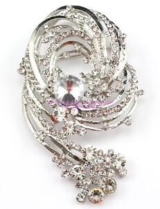 Clear Brilliant Austrian Rhinestone Crystal Wedding Bridal Brooch Pin