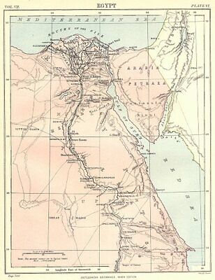 EGYPT. Showing Ancient place names. Nile Valley. Britannica 9th edition 1898 map